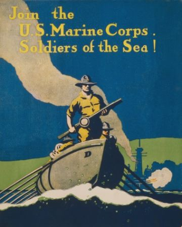"Vintage Marine Corps Recruitment Poster ""Soldiers of the Sea"""